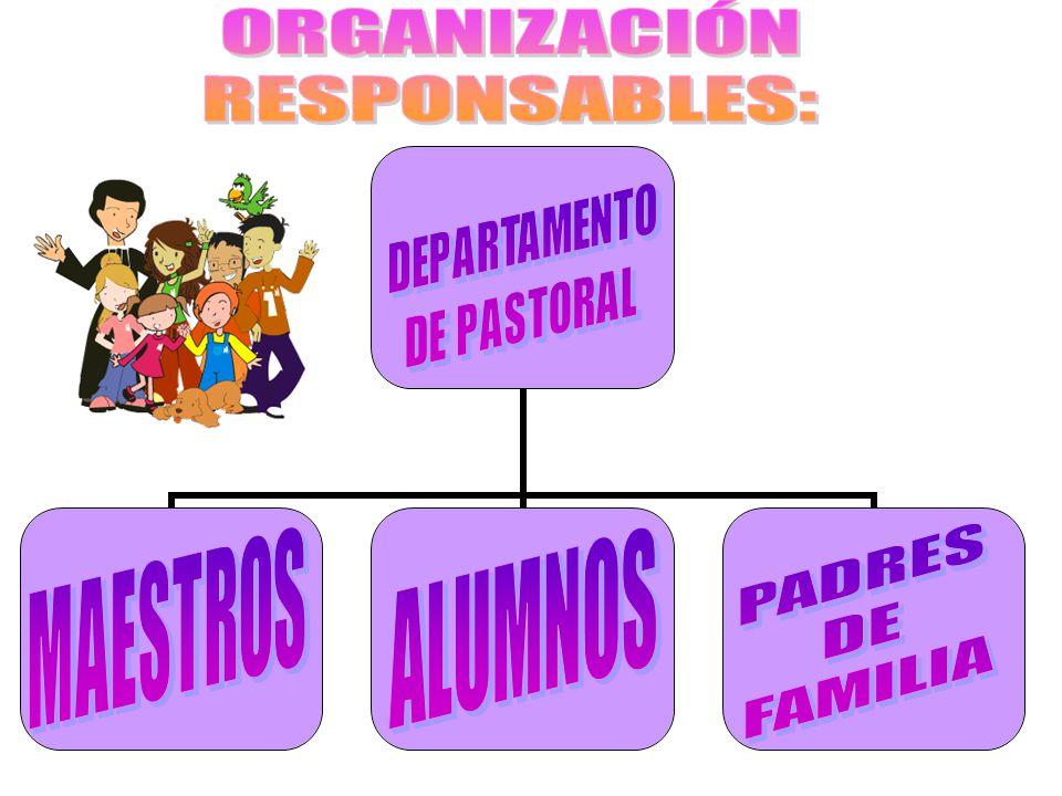 ORGANIZACIÓN RESPONSABLES: PADRES ALUMNOS DE FAMILIA MAESTROS