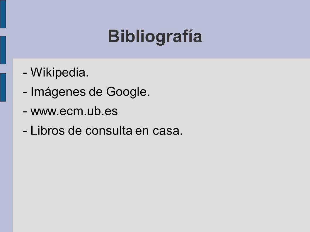 Bibliografía - Wikipedia. - Imágenes de Google. - www.ecm.ub.es