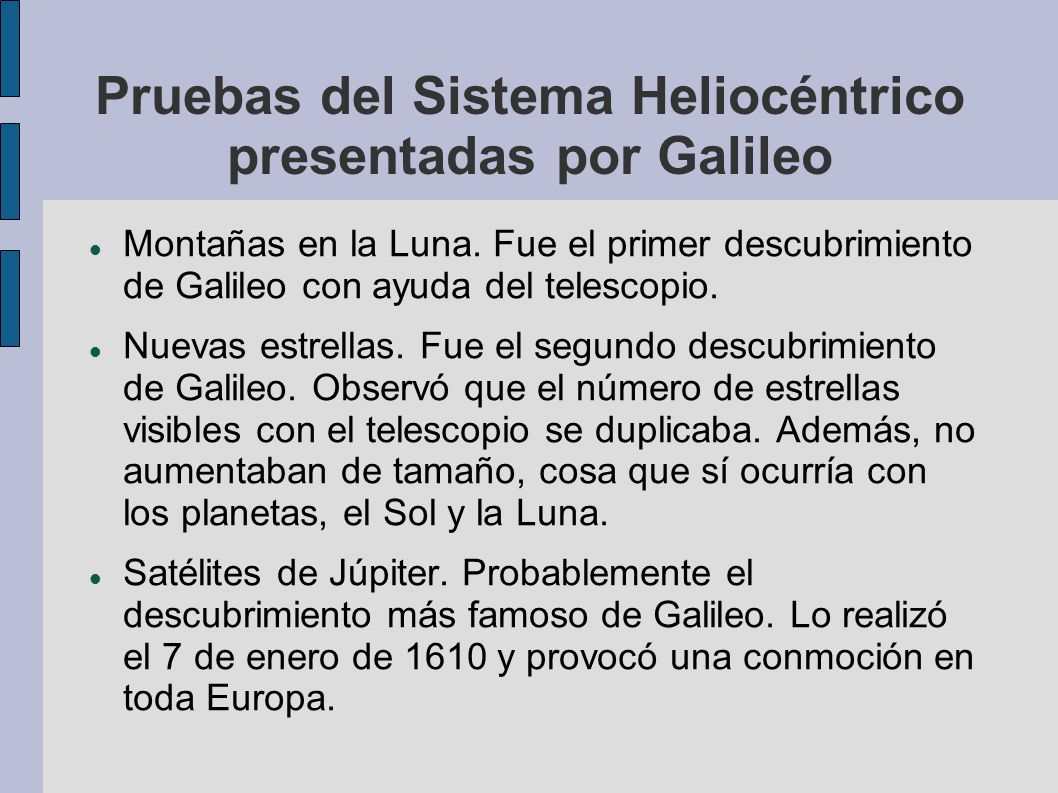 Pruebas del Sistema Heliocéntrico presentadas por Galileo