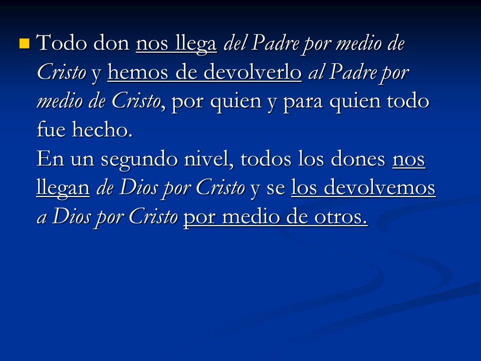 Todo don nos llega del Padre por medio de Cristo y hemos de devolverlo al Padre por medio de Cristo, por quien y para quien todo fue hecho.