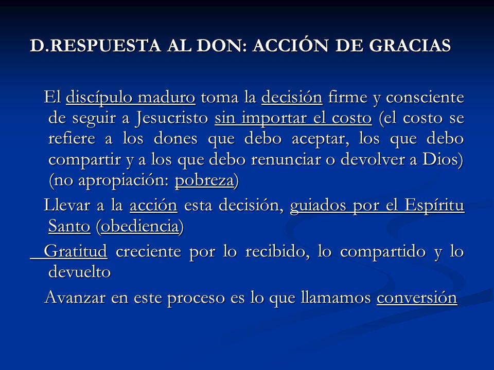 D.RESPUESTA AL DON: ACCIÓN DE GRACIAS