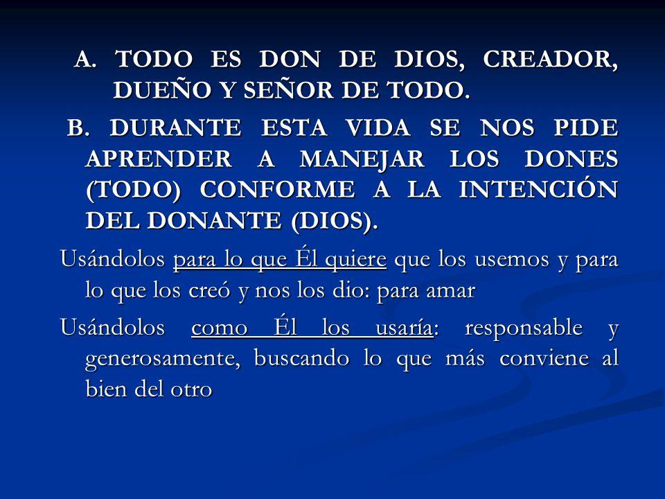 A. TODO ES DON DE DIOS, CREADOR, DUEÑO Y SEÑOR DE TODO.