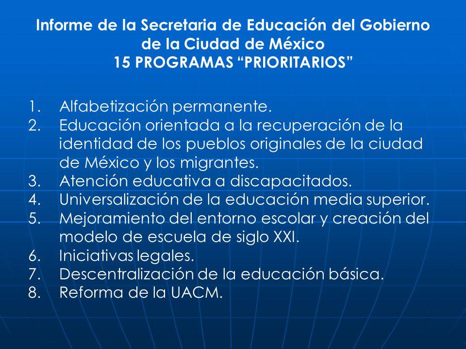 Informe de la Secretaria de Educación del Gobierno de la Ciudad de México 15 PROGRAMAS PRIORITARIOS