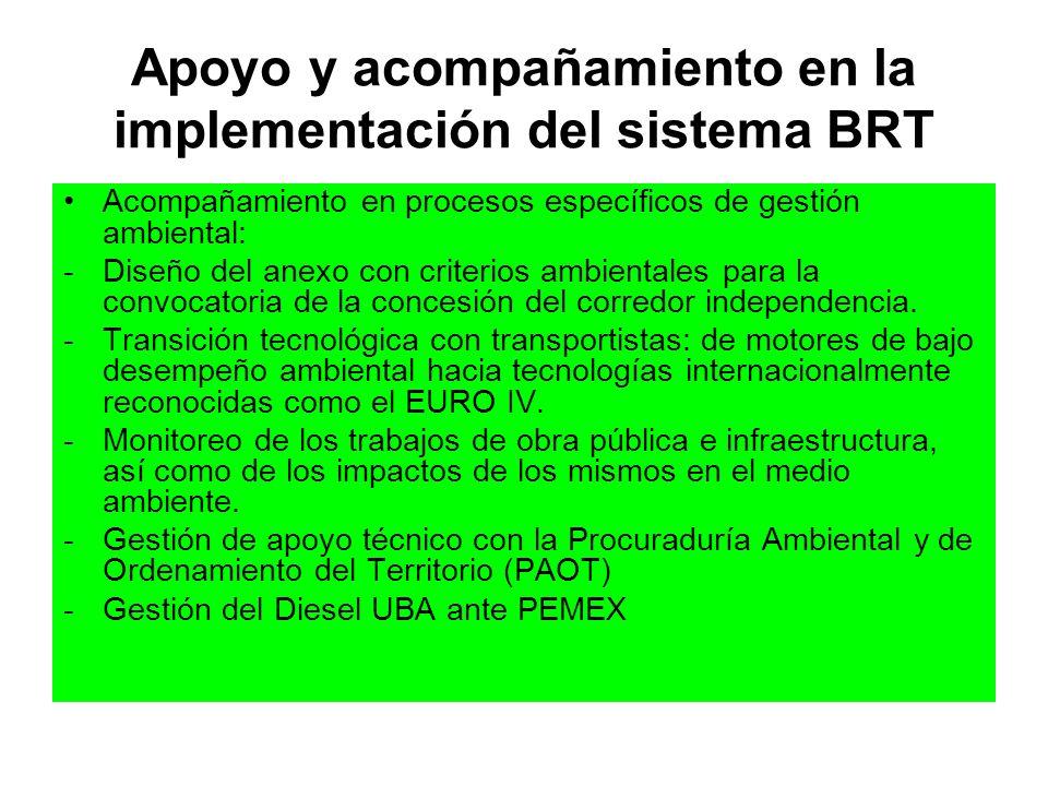 Apoyo y acompañamiento en la implementación del sistema BRT