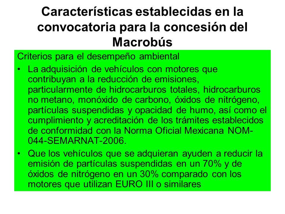 Características establecidas en la convocatoria para la concesión del Macrobús