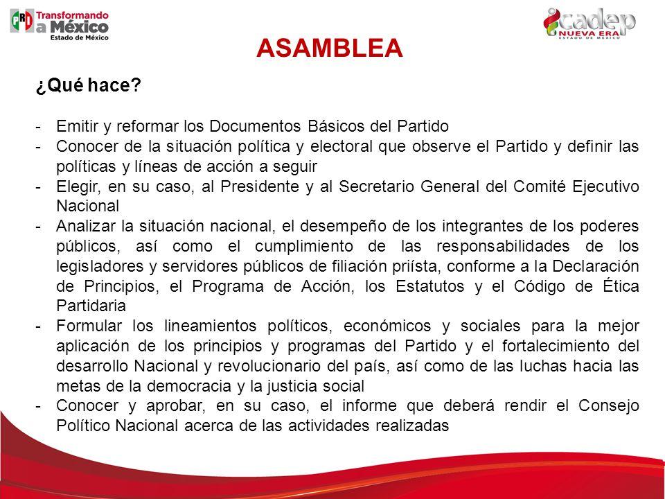 ASAMBLEA ¿Qué hace Emitir y reformar los Documentos Básicos del Partido.