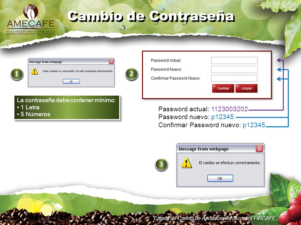 Cambio de Contraseña 1 2 3 Password actual: 1123003202