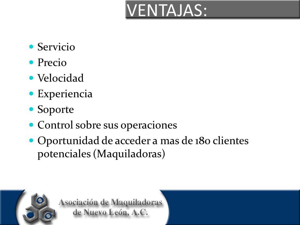 VENTAJAS: Servicio Precio Velocidad Experiencia Soporte