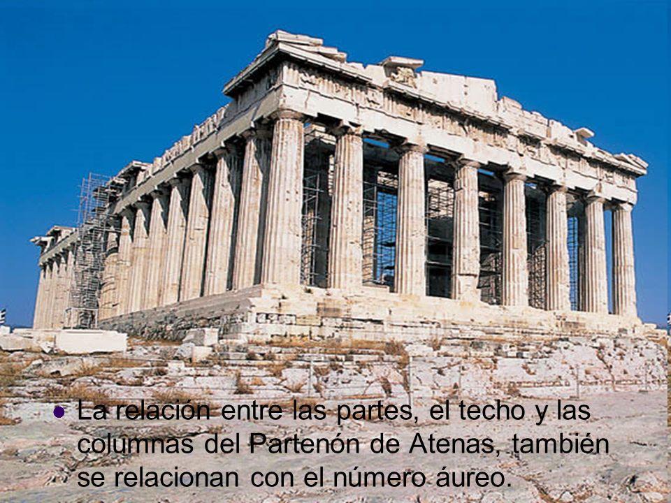 La relación entre las partes, el techo y las columnas del Partenón de Atenas, también se relacionan con el número áureo.