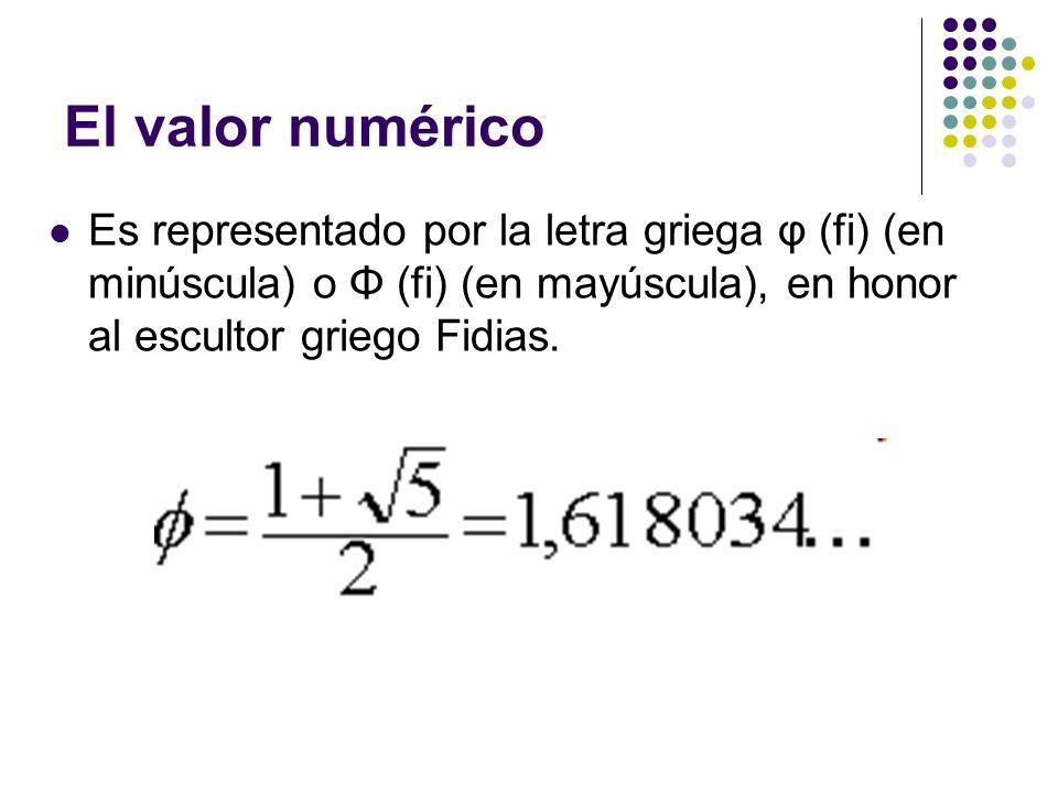 El valor numérico Es representado por la letra griega φ (fi) (en minúscula) o Φ (fi) (en mayúscula), en honor al escultor griego Fidias.