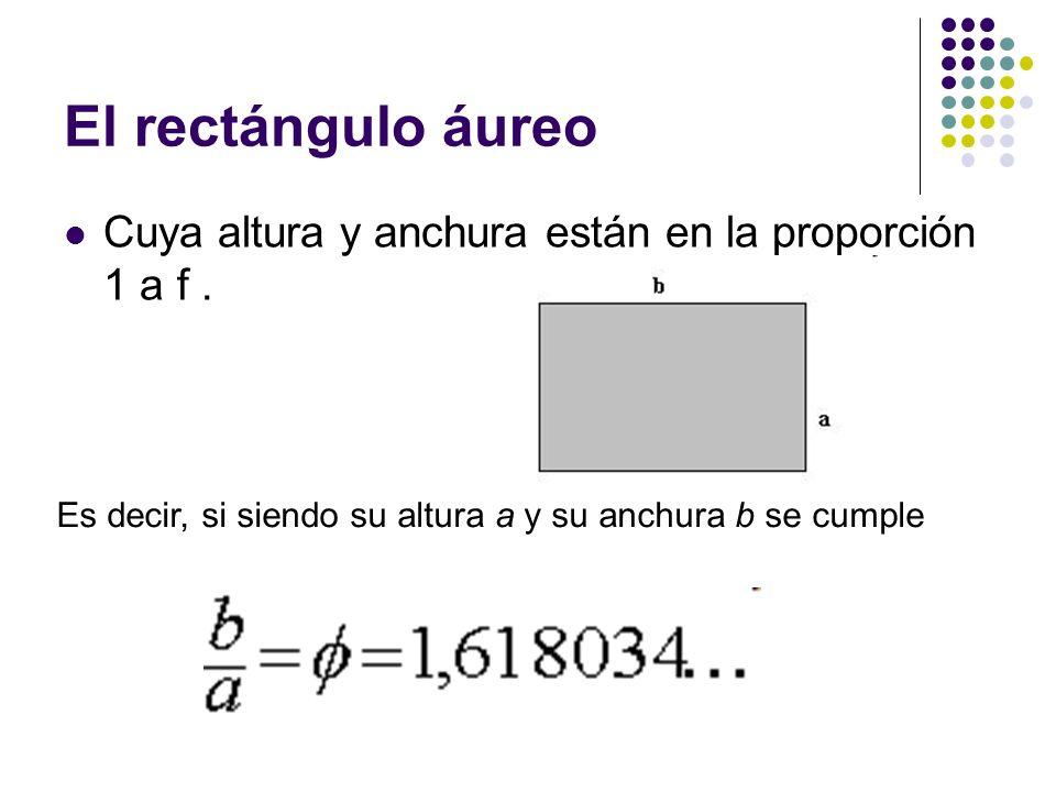 El rectángulo áureo Cuya altura y anchura están en la proporción 1 a f .