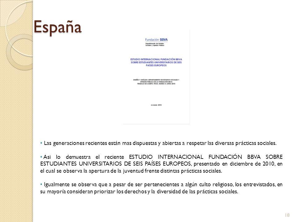España Las generaciones recientes están mas dispuestas y abiertas a respetar las diversas prácticas sociales.