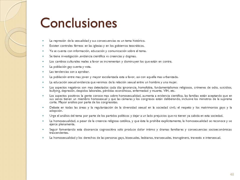 Conclusiones La represión de la sexualidad y sus consecuencias es un tema histórico.