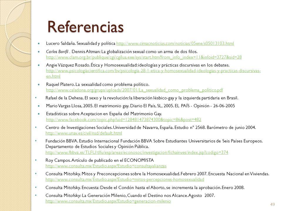 Referencias Lucero Saldaña. Sexualidad y política http://www.cimacnoticias.com/noticias/05ene/s05013103.html.