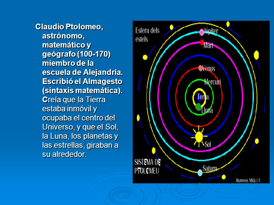 Claudio Ptolomeo, astrónomo, matemático y geógrafo (100-170) miembro de la escuela de Alejandría.