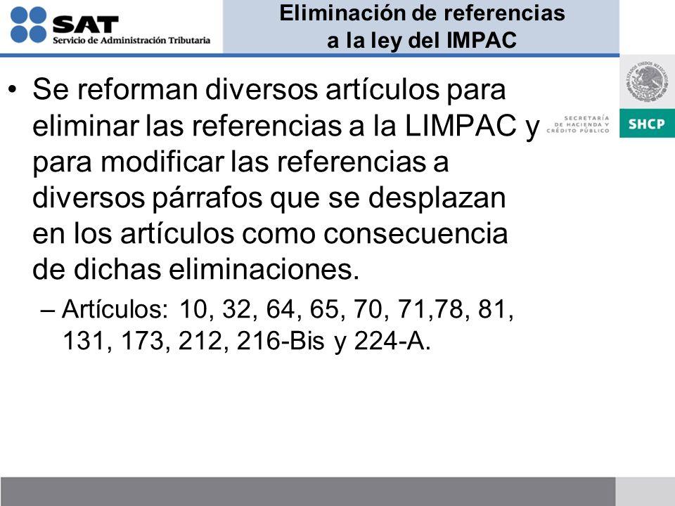 Eliminación de referencias a la ley del IMPAC