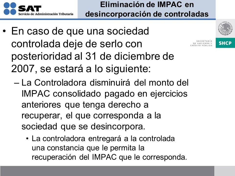 Eliminación de IMPAC en desincorporación de controladas
