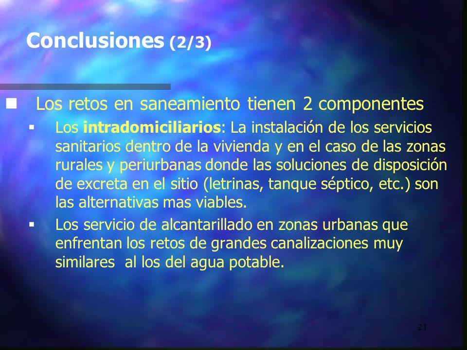 Conclusiones (2/3) Los retos en saneamiento tienen 2 componentes