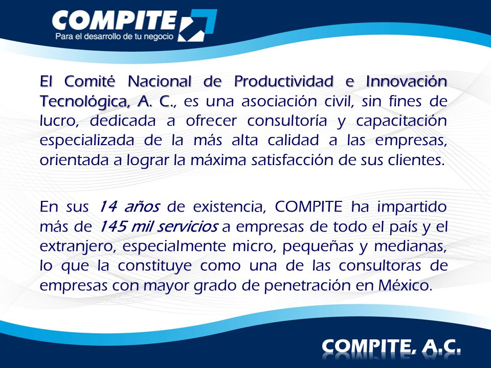 El Comité Nacional de Productividad e Innovación Tecnológica, A. C
