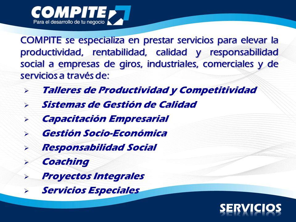 COMPITE se especializa en prestar servicios para elevar la productividad, rentabilidad, calidad y responsabilidad social a empresas de giros, industriales, comerciales y de servicios a través de:
