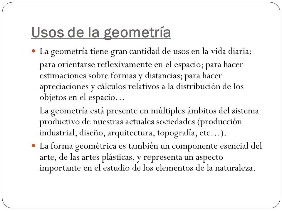 Usos de la geometría La geometría tiene gran cantidad de usos en la vida diaria: