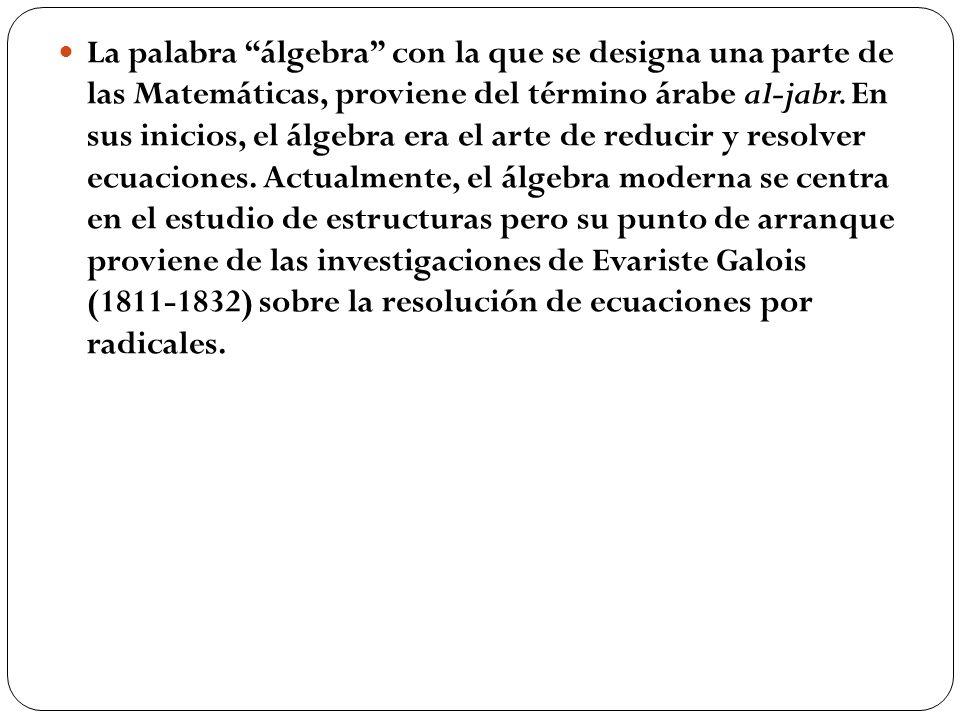 La palabra álgebra con la que se designa una parte de las Matemáticas, proviene del término árabe al-jabr.