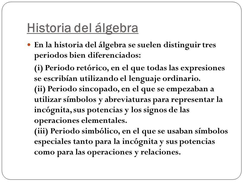 Historia del álgebraEn la historia del álgebra se suelen distinguir tres periodos bien diferenciados: