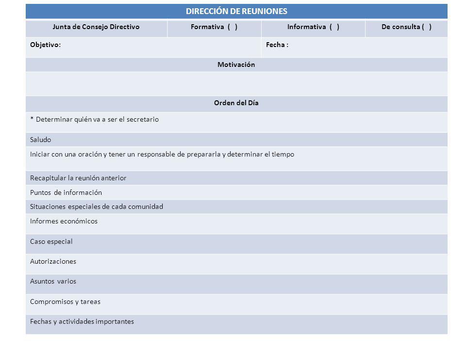 DIRECCIÓN DE REUNIONES Junta de Consejo Directivo