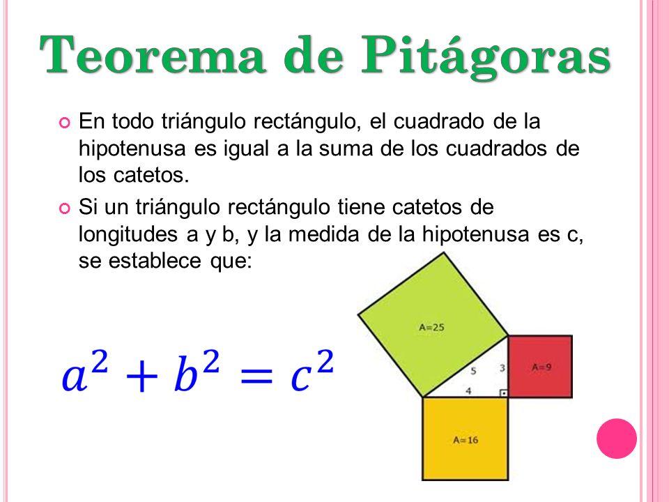 Teorema de Pitágoras En todo triángulo rectángulo, el cuadrado de la hipotenusa es igual a la suma de los cuadrados de los catetos.