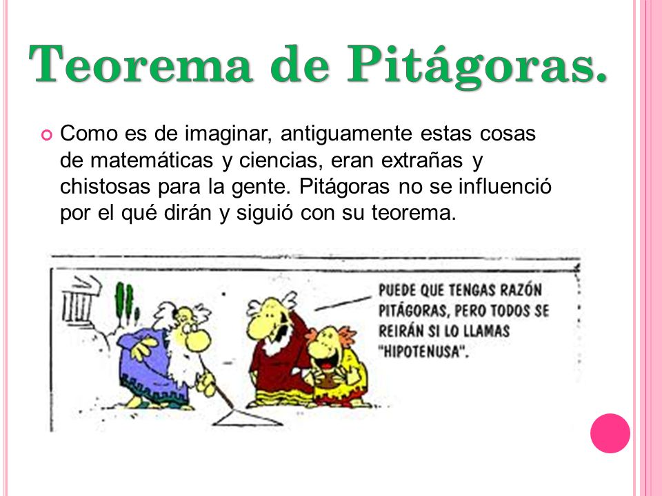 Teorema de Pitágoras.
