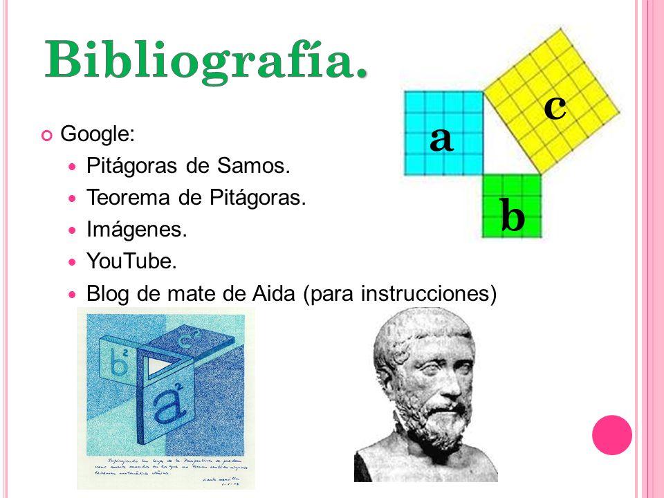 Bibliografía. c a b Google: Pitágoras de Samos. Teorema de Pitágoras.