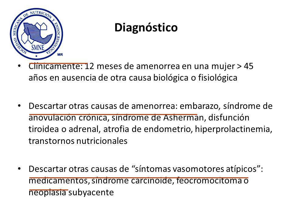 Diagnóstico Clínicamente: 12 meses de amenorrea en una mujer > 45 años en ausencia de otra causa biológica o fisiológica.