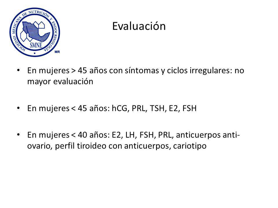 Evaluación En mujeres > 45 años con síntomas y ciclos irregulares: no mayor evaluación. En mujeres < 45 años: hCG, PRL, TSH, E2, FSH.