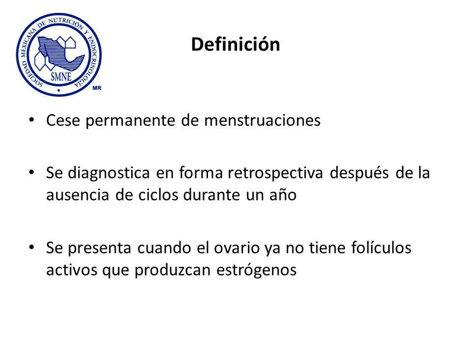Definición Cese permanente de menstruaciones