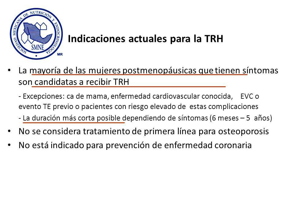 Indicaciones actuales para la TRH