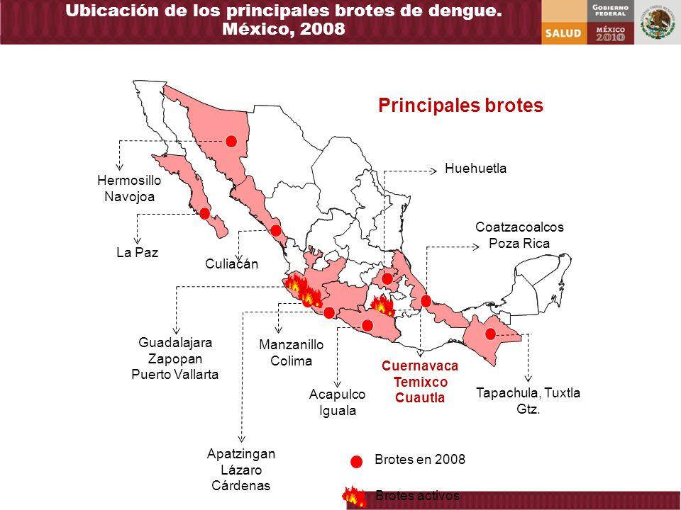 Ubicación de los principales brotes de dengue. México, 2008