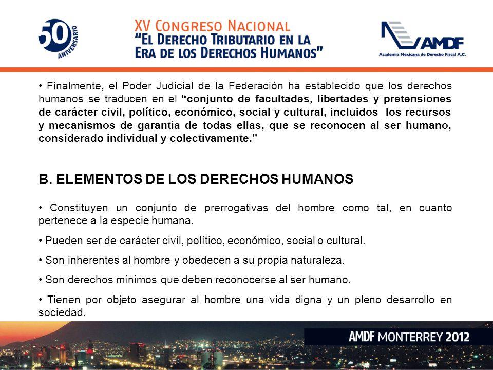 B. ELEMENTOS DE LOS DERECHOS HUMANOS