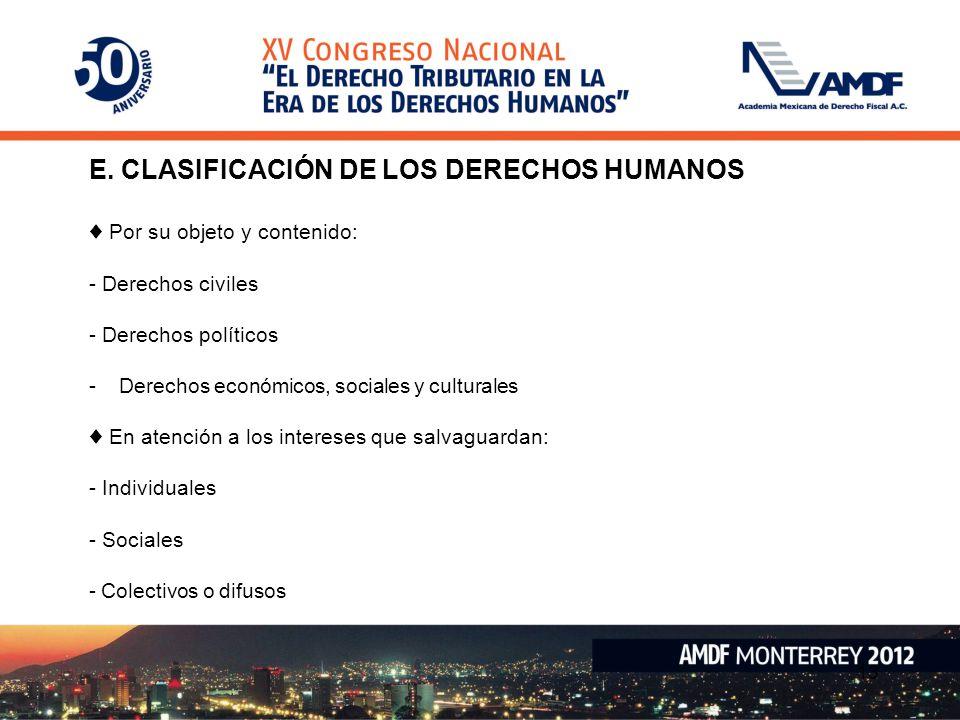E. CLASIFICACIÓN DE LOS DERECHOS HUMANOS
