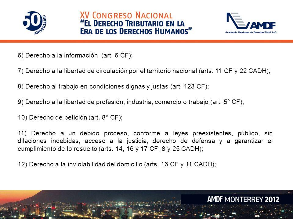 6) Derecho a la información (art. 6 CF);
