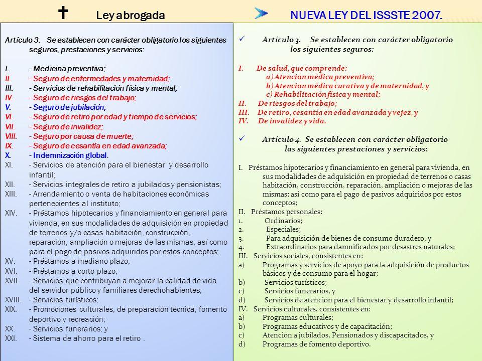 Ley abrogada NUEVA LEY DEL ISSSTE 2007.