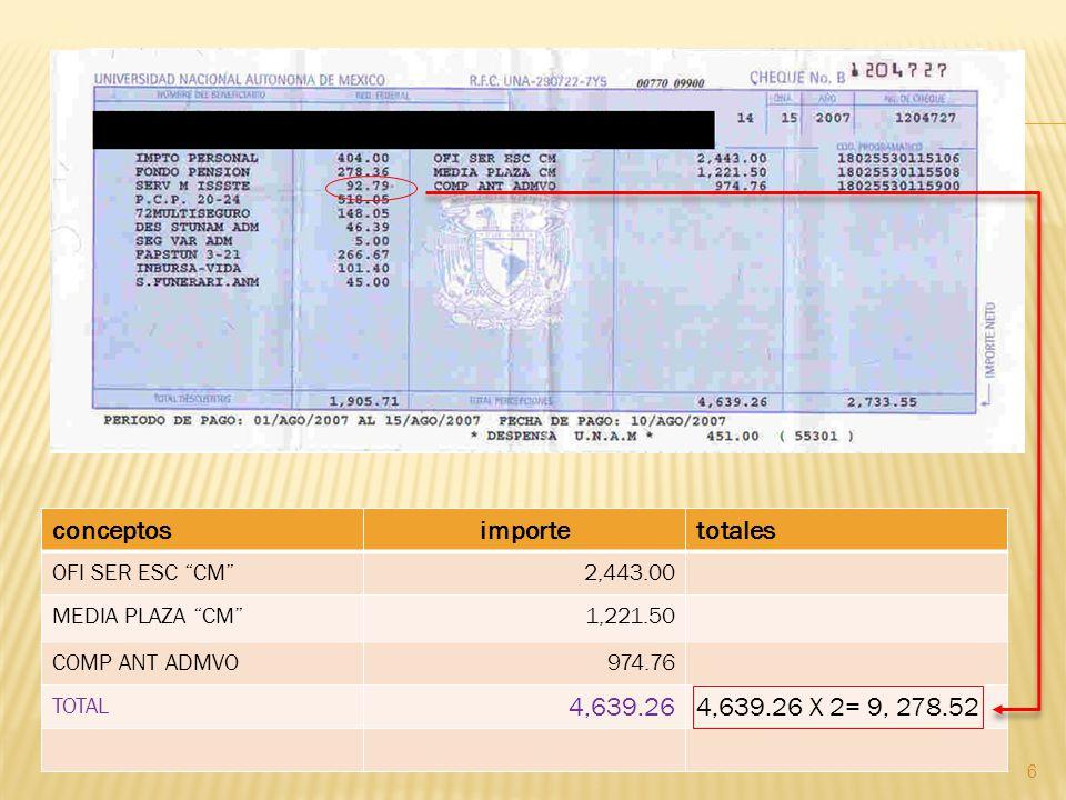 conceptos importe totales 4,639.26 4,639.26 X 2= 9, 278.52