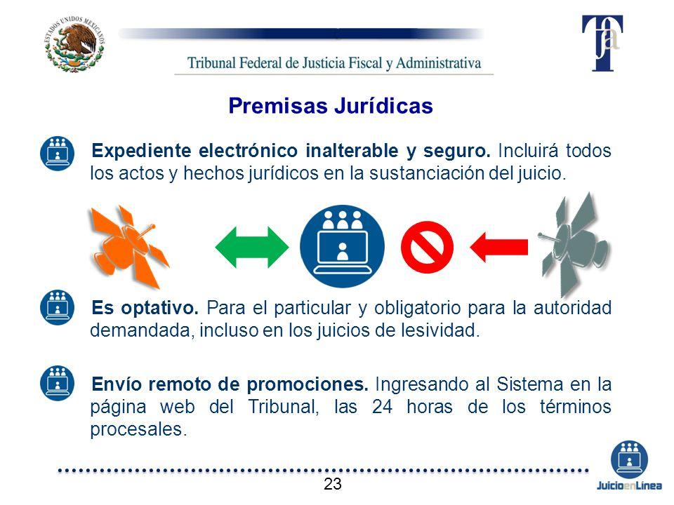 Premisas Jurídicas Expediente electrónico inalterable y seguro. Incluirá todos los actos y hechos jurídicos en la sustanciación del juicio.