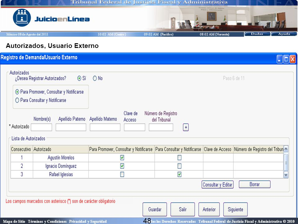 Autorizados, Usuario Externo