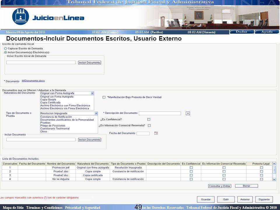 Documentos-Incluir Documentos Escritos, Usuario Externo