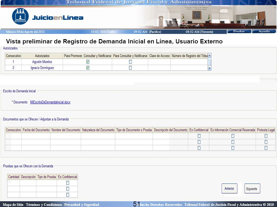 Vista preliminar de Registro de Demanda Inicial en Línea, Usuario Externo
