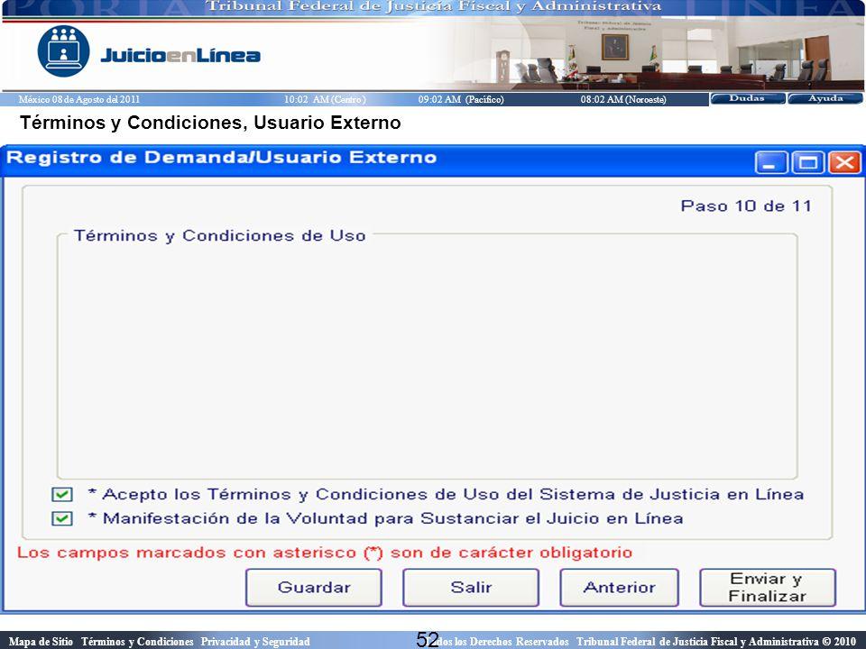 Términos y Condiciones, Usuario Externo
