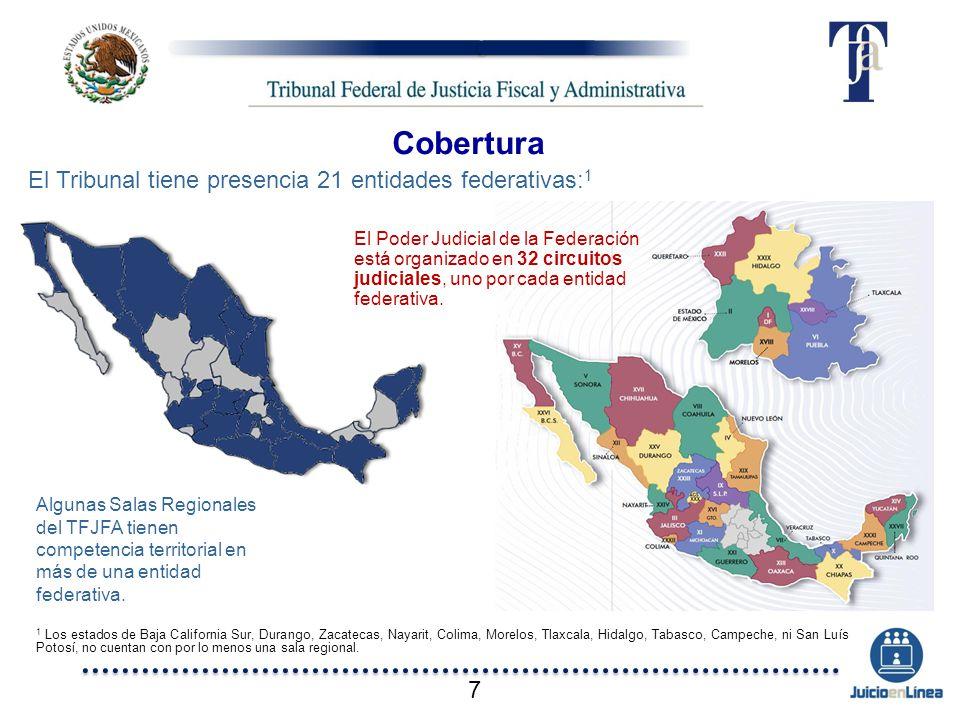 Cobertura El Tribunal tiene presencia 21 entidades federativas:1 7