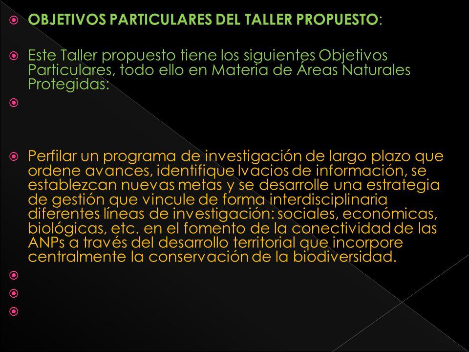 OBJETIVOS PARTICULARES DEL TALLER PROPUESTO: