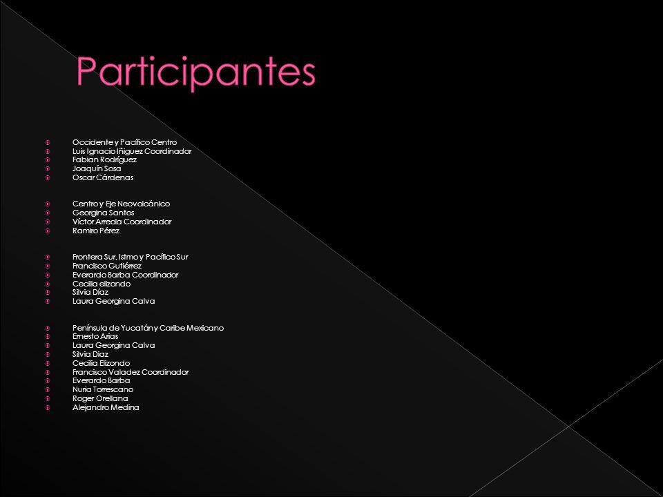 Participantes Occidente y Pacífico Centro