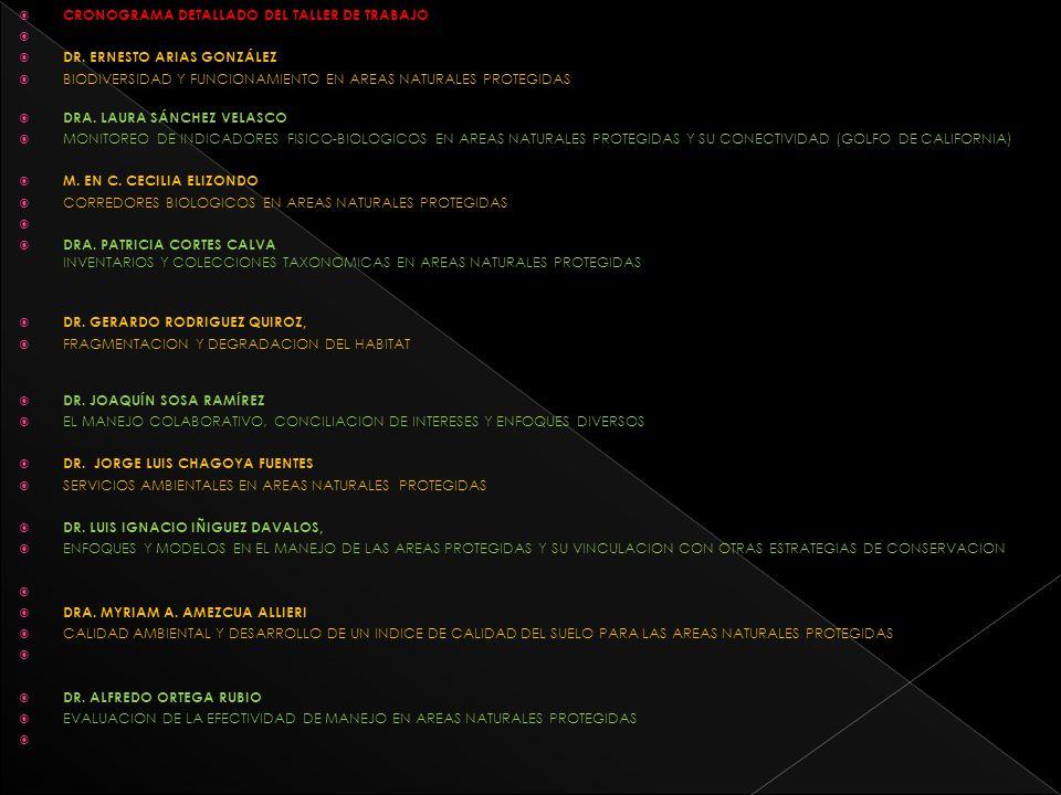 CRONOGRAMA DETALLADO DEL TALLER DE TRABAJO
